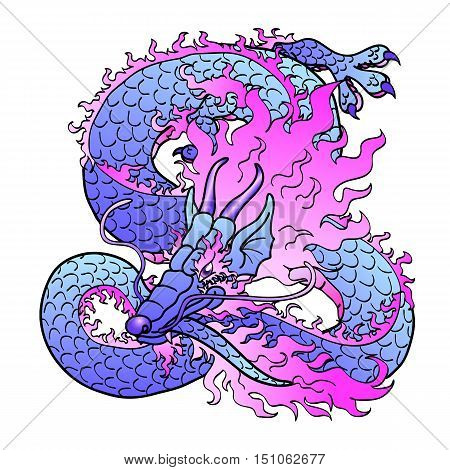 Playful glamorous violet with pink space Asian chinese dragon isolated on white background. Vector illustration.