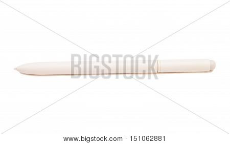 White Stylus pen for touchscreen tablet isolated on white background