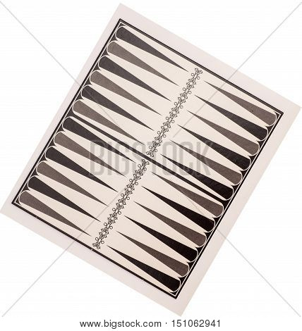 Board for a game of backgammon on white