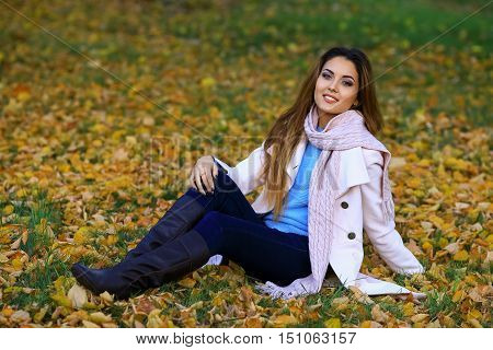 Young woman smiling and fall yellow maple garden background. free space
