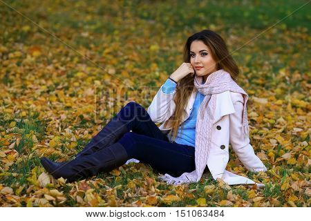 Young woman and fall yellow maple garden background. free space