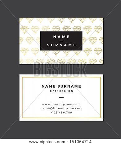 Modern business card template with gold details