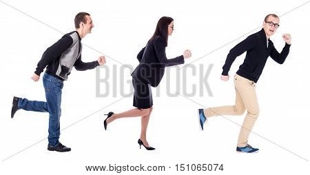 side view of business people running isolated on white background