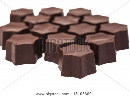 gourmet chocolate bonbons candy on white background
