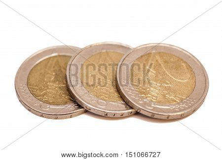 euro coins isolated on white background .