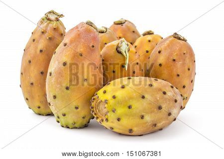 Bunch of prickly pears, opuntia, indian fig, ficus-indica fruit isolated on a white background