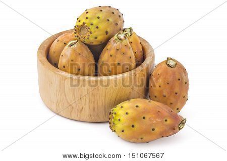 Prickly pears in wooden bowl, opuntia, indian fig, ficus-indica fruit isolated on a white background