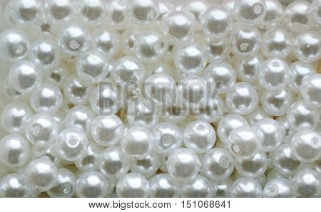 Background Of White Pearl Beads