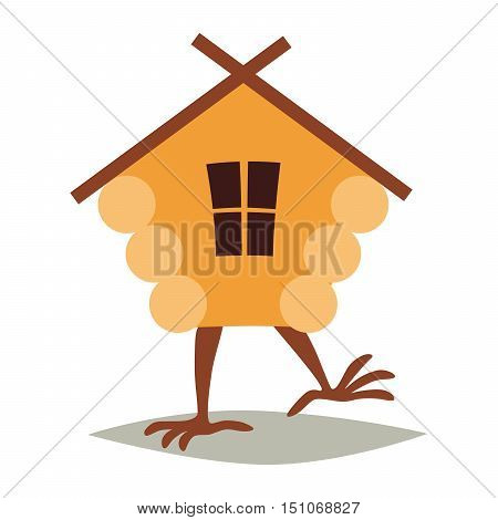 Hut on chicken legs vector. Cartoon house with window baba yaga home. Fairy magic village logo. Symbol of fairytale forest isolated on white background illustration