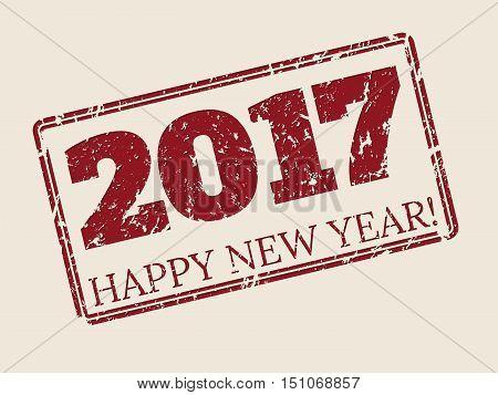Happy new year 2017 stamper design in dark red