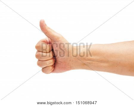 male hand showing ok hand sign isolated on white
