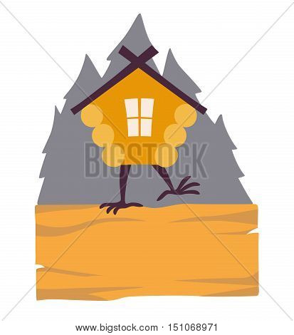 Hut in forest vector logo. Cartoon old house on chicken legs with window baba yaga home. Fairy magic village is on the board. Symbol of fairytale forest isolated on white background illustration