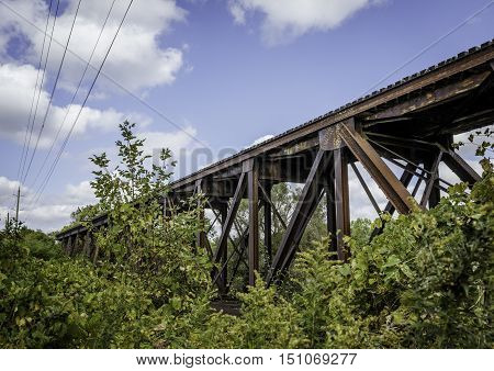 Span of train trestle on steel girders through Ontario Canada