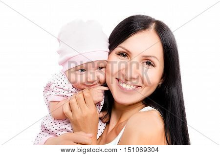 Portrait of young happy mother and cute daughter isolated on white background
