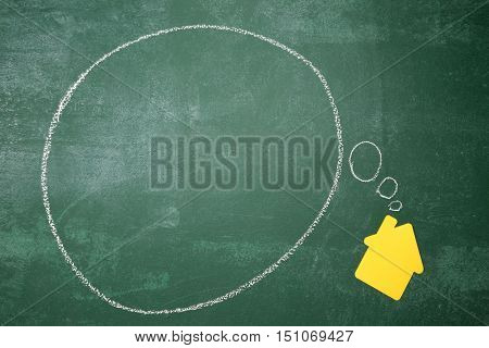 yellow color paper cut house shape with thinking bubble