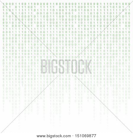 Binary code green and white background with digits on screen. Algorithm binary, data code, decryption and encoding, row matrix