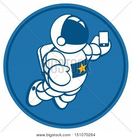 illustration of cosmonaut with smartphone in hand. Design concept. photos myself. selfie time.  character