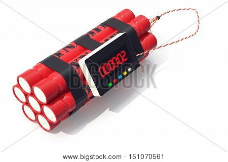 TNT dynamite red bomb with a timer isolated on a white background. 3d illustration.