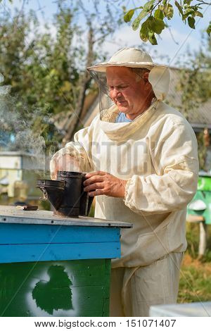 beekeeper hives in the apiary near blows smoker for bees