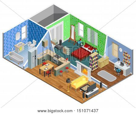 House interior isometric design with living room bathroom kitchen bedroom and study vector illustration