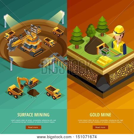 Mining vertical banners set with surface mining symbols isometric isolated vector illustration