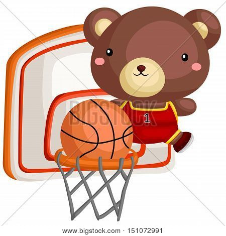 a bear playing basketball almost score a point