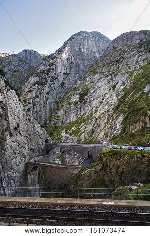 Devil's Bridge At St. Gotthard Pass, Switzerland