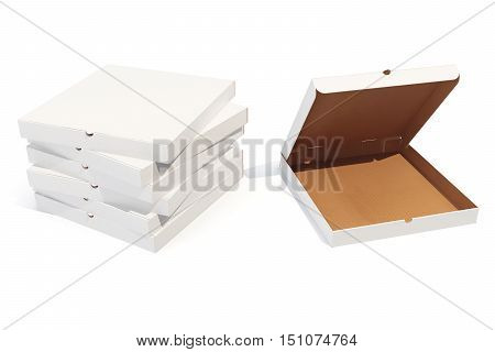 Pizza boxes isolted on white with shadow, 3d rendering