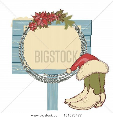 Cowboy Boots And Lasso On Wood Board Isolated On White For Text