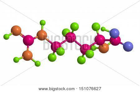 Molecular structure of L-arginine (important amino acid) 3D rendering