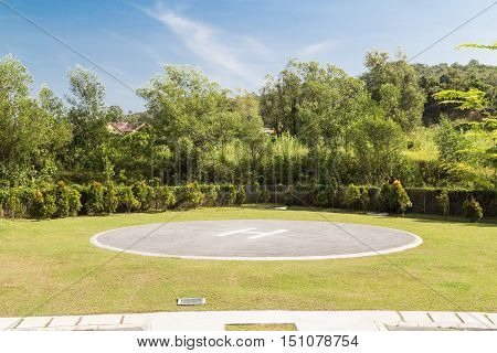 Helipad For Helicopter Landing Within Greenery