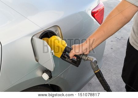 Hand with nozzle fueling unleaded gasoline into car at station poster