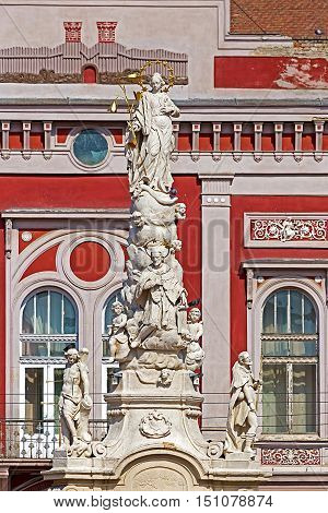 Statue placed in 1756 in Liberty Square in Timisoara Romania to commemorate victims of the plague that caused over 1000 deaths in 1738.