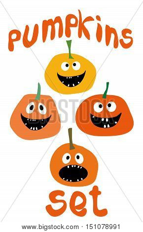 Halloween funny Pumpkin vector icons set Simple flat style design Pumpkins with Jack O`Lantern face isolated on white background