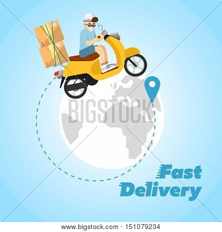 Delivery man on scooter with cardboard boxes on background of globe. Fast delivery banner. Motorcycle courier service. Worldwide shipping and moving concept. Professional delivery man concept. Delivery service concept. Cartoon delivery man character.