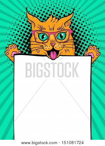 Wow pop art cat. Funny surprised cat in glasses with open mouth holding an empty board in his paws. Vector illustration in retro comic style. Vector pop art background.