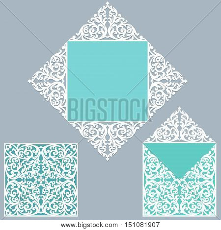 Square laser cut wedding invitation template. Card for die cutting