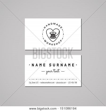 Handmade workshop business card design concept. Logo with heart and thread spool. Vintage hipster and retro style. Black and white.