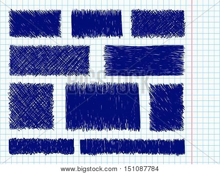 Doodle Spots Blue Pen Sketch Frames Set Notebook Page