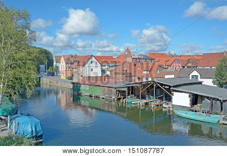 Village of Plau am See in Mecklenburg Lake District,Mecklenburg western Pomerania,Germany