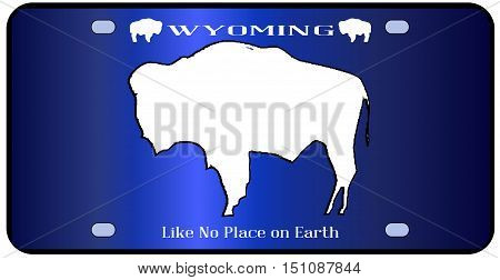 Wyoming state license plate in the colors of the state flag with the flag icons over a white background