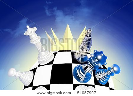 World championship chess crown. Chess is located on a chessboard. A chessboard in the form of a sphere. The crown is located from above. 3D illustration
