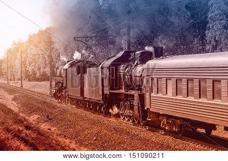 Vintage image of the retro steam train.