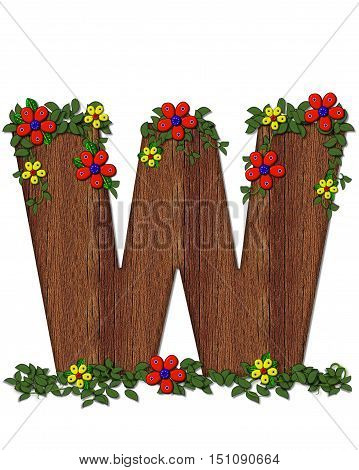 Alphabet Woodland Flowers W