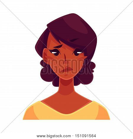 Pretty African girl, upset, confused facial expression, cartoon vector illustrations isolated on white background. Black woman feeling upset, concerned, confused frustrated.