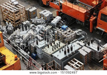 Damaged High Voltage Electrical Equipment Components Yard