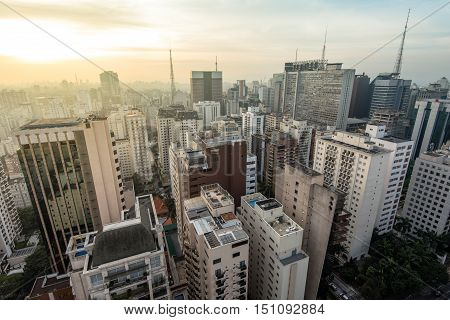 Aerial View of Buildings of Sao Paulo by Sunset