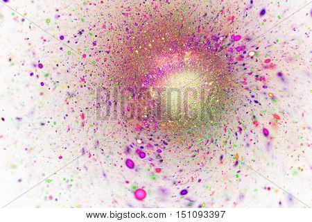 Bright splash. Abstract shining sparks on white background. Fantasy fractal design in pink purple and green colors. Digital art. 3D rendering.