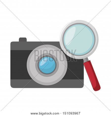 photographic camera device and icon over white background. vector illustration