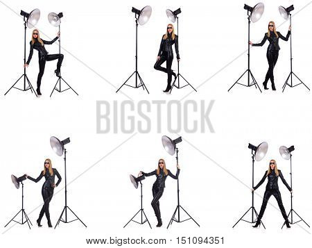 Collage of woman during photo shoot isolated on white